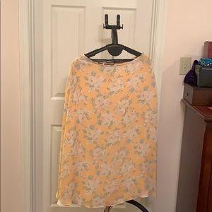 Ralph Lauren Silk peach skirt w/ flowers 12P